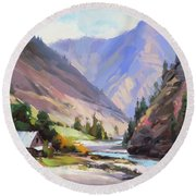 Round Beach Towel featuring the painting Along The Salmon River by Steve Henderson