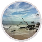 Along The Sand Round Beach Towel