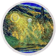 Round Beach Towel featuring the digital art Alorial - Shifting Dominion by Mike Braun