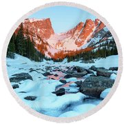 Round Beach Towel featuring the photograph Alpenglow At Dream Lake Rocky Mountain National Park by Nathan Bush