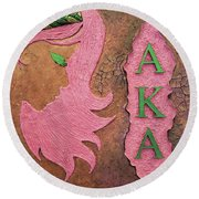 Alpha Kappa Alpha Sister In Profile I Round Beach Towel