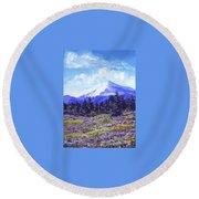 Alpine Meadow Sketch Round Beach Towel