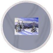 Alpine Winter Sketch Round Beach Towel