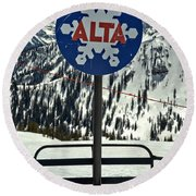 Alta Ski Lift Chair Round Beach Towel