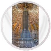 Aluminum Relief Inside The Empire State Building - New York Round Beach Towel