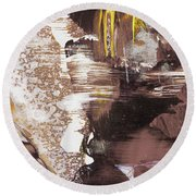 Always On My Mind - Brown Contemporary Abstract Painting Round Beach Towel