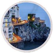 Amalfi Coast Italy Nightlife Round Beach Towel