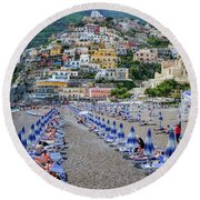 Round Beach Towel featuring the photograph The Colorful Beaches And Village Of Amalfi Italy by Robert Bellomy