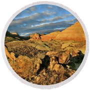 Amazing Clouds Over Ruby Mountain And Colorado National Monument Round Beach Towel