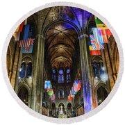 Amazing Interior Cathedrale Notre Dame De Paris France Before Fire Round Beach Towel