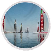 America Cup Boat Reflections Round Beach Towel