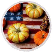 American Autumn Harvest Round Beach Towel