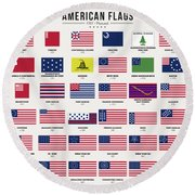 American Flags Round Beach Towel