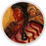 American Indian Mother And Child Round Beach Towel