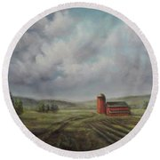 American Scene Red Barn  Round Beach Towel