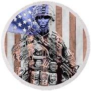 American Soldier Round Beach Towel