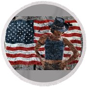 American Woman Round Beach Towel
