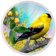 American Yellow Finch Round Beach Towel