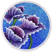 Round Beach Towel featuring the painting Amethysts Afloat by Amy E Fraser