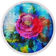 Round Beach Towel featuring the mixed media Amidst The Chaos by Sabine ShintaraRose