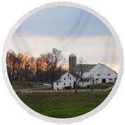 Amish Farm At Dusk  Round Beach Towel
