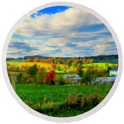 Amish Farm Beauty Round Beach Towel