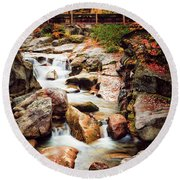 Ammonoosuc River, Autumn Round Beach Towel