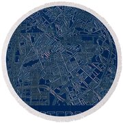 Amsterdam Blueprint City Map Round Beach Towel