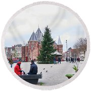 Amsterdam Christmas Round Beach Towel