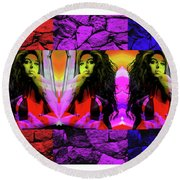 Amy Winehouse In Living Color Number 27 Round Beach Towel