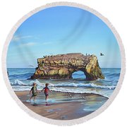 An Adventure On The Beach Round Beach Towel