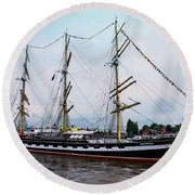 An Exit Sailboat Krusenstern On Parade Round Beach Towel