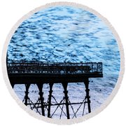 An Explosion Of Starlings  Round Beach Towel