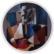 Round Beach Towel featuring the painting An Fear Lies An Gitar by Val Byrne