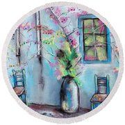 Anapa. Seaside Town In Bloom. Hot Summer Day. Pastel Drawing Round Beach Towel
