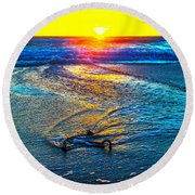 Anchor In The Surf Round Beach Towel