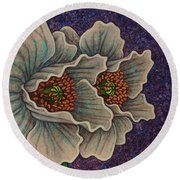 Round Beach Towel featuring the painting Ancient Stargazers by Amy E Fraser