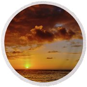 And Then The Sun Set Round Beach Towel