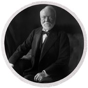 Andrew Carnegie Portrait - 1905 Round Beach Towel