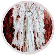 Angel Against Violence Round Beach Towel