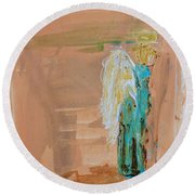 Angel Boy In Time Out  Round Beach Towel