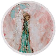 Angel By Your Side Round Beach Towel