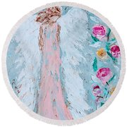 Angel For Childbirth And Round Beach Towel