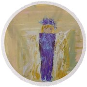 Angel Girl With A Unicorn Round Beach Towel