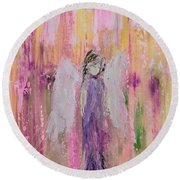 Angel In  Paradise Round Beach Towel