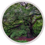 Round Beach Towel featuring the photograph Angel Oak Tree by Rick Berk