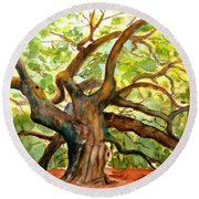 Round Beach Towel featuring the painting Angel Oak Tree South Carolina by Carlin Blahnik CarlinArtWatercolor