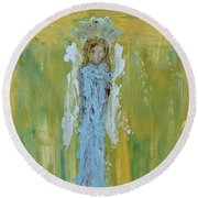 Angel Of Vision Round Beach Towel