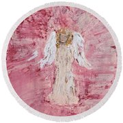Angel Was Lost But Now Is Found  Round Beach Towel