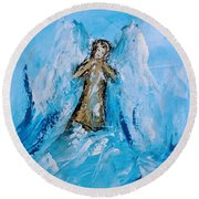 Angel With A Purpose Round Beach Towel
